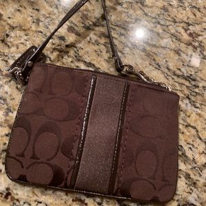 Chocolate Brown Coach Wristlet
